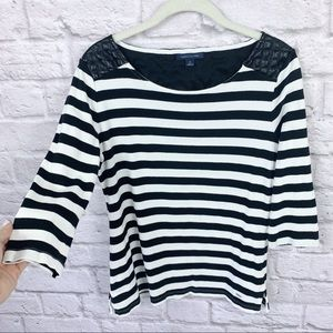 Tommy Hilfiger Striped Top w Faux Leather Detail